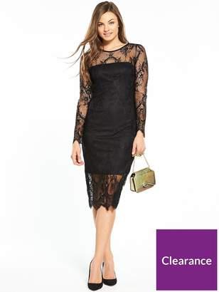 Wallis Scallop Lace Shift Dress - Black