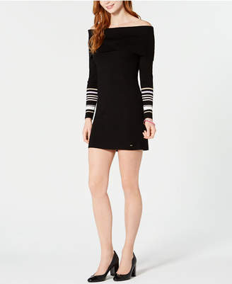 Tommy Hilfiger Off-The-Shoulder Mini Sweater Dress