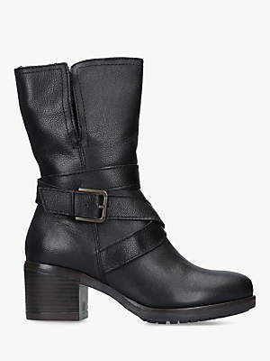 Carvela Solo Buckle Ankle Boots, Black Leather