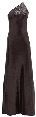 Galvan Gilded Roxy One Shoulder Sequinned Gown - Womens - Black