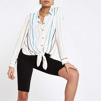 River Island White stripe tie front shirt