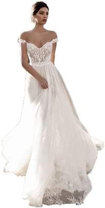 Fanciest Women's Off Shoulder Bohemian Wedding Dresses Lace Long 2018 Bridal Gowns US