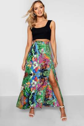 boohoo Tropical Mix Split Maxi Skirt