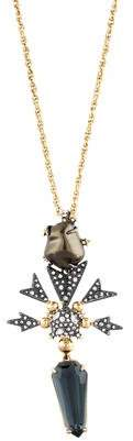 Alexis Bittar Faux Pearl & Crystal Starburst Pendant Necklace
