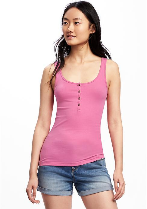 First-Layer Fitted Henley Tank for Women