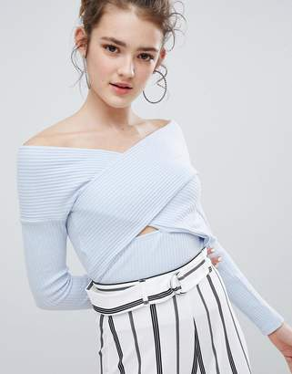 Bershka Cross Front Knitted Crop Top