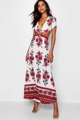 boohoo Cut Out Border Print Floral Maxi Dress
