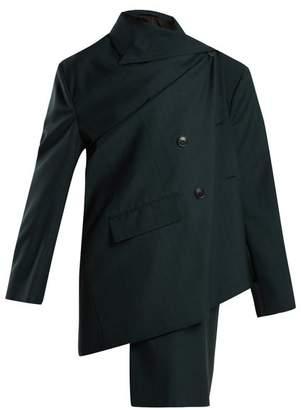 Balenciaga Pulled Check Wool And Mohair Blend Jacket - Womens - Dark Green