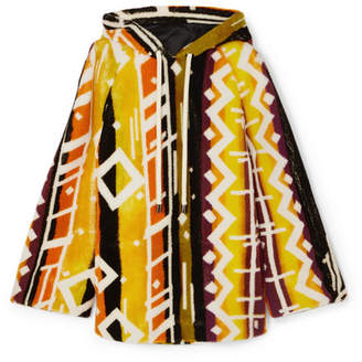 Burberry Hooded Printed Shearling Poncho - Yellow