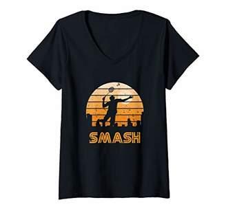 Smash Wear Womens Retro Sunset Badminton V-Neck T-Shirt