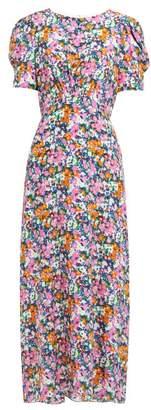 Saloni Bianca Floral Print Silk Midi Dress - Womens - Pink Multi