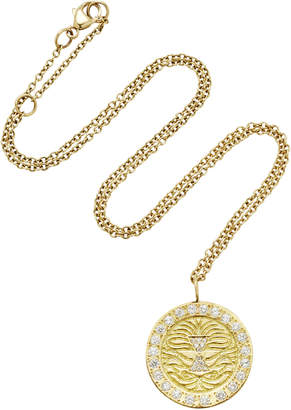 Misahara Lion Charm 18K Gold Diamond Necklace
