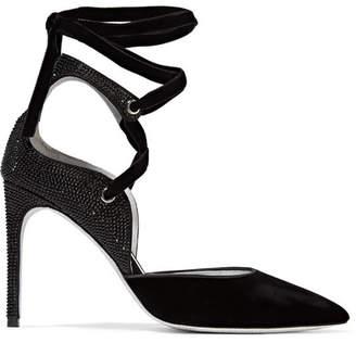 Embellished Satin-trimmed Velvet Pumps - Black