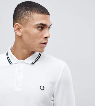 Fred Perry Slim Fit Twin Tipped Logo Polo in White