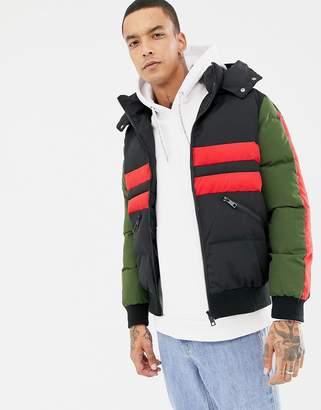 Criminal Damage puffer jacket in black with stripe