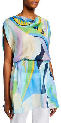 Emilio Pucci Cowl-Neck Draped-Waist Mini Dress