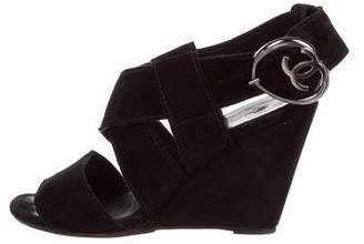 Chanel CC Suede Wedges