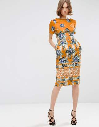 ASOS Border Print Wiggle Dress in Placement Floral Print $73 thestylecure.com