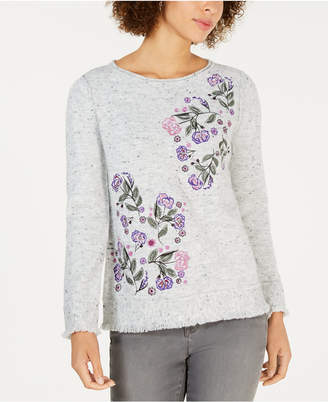 Style&Co. Style & Co Embroidered Fringed Textured Sweater