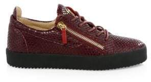 Giuseppe Zanotti Snake-Print Leather Low-Top Sneakers