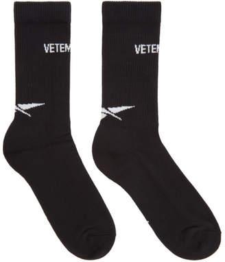 Vetements Black Reebok Edition Logo Socks