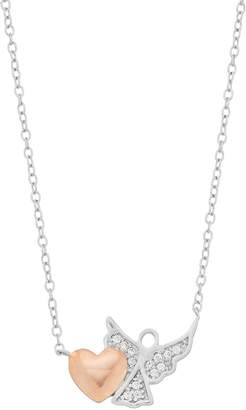 Close At Heart Close at Heart Two Tone Sterling Silver Cubic Zirconia Heart & Angel Necklace