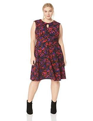 London Times Women's Plus Size Cap Sleeve Keyhole Texture FIT and Flare