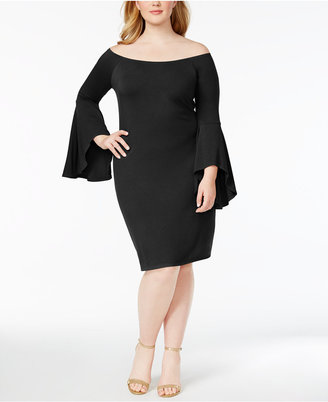 Planet Gold Plus Size Bell-Sleeve Bodycon Dress $49 thestylecure.com