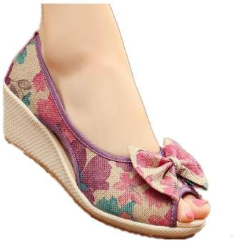 cc05b4a90aa Tianrui Crown Women and Ladies Print Wedge Sandal Shoes Platform Sandals
