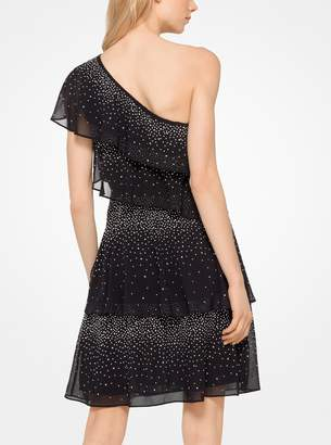 MICHAEL Michael Kors Embellished Chiffon One-Shoulder Dress
