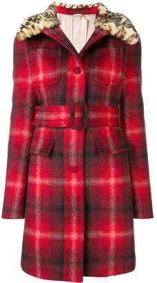 No.21 checked belted coat