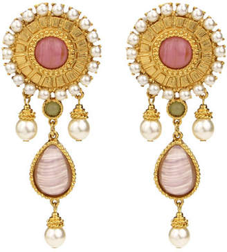 Ben-Amun Romaness Statement Stone & Pearly Clip-On Earrings