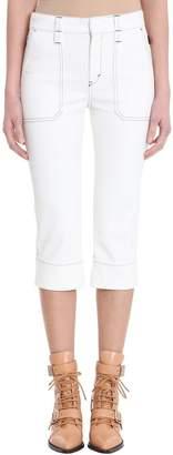 Chloé Cropped Boy Friend White Denim Jeans