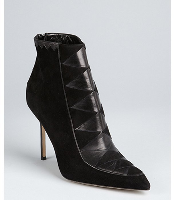 Manolo Blahnik black suede harlequin detail pointed toe ankle boots