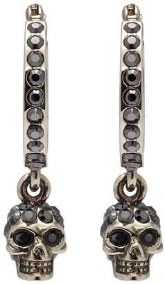 Alexander McQueen Glass crystal skull drop hoop earrings
