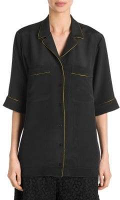 Stella McCartney Piped Silk Pajama Shirt