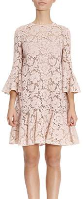 Valentino Dress Short Dress In Floral Lace With 3/4 Sleeves And Frill
