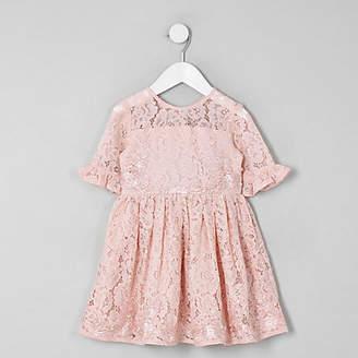 River Island Mini girls pink lace bow back prom dress