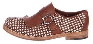 Salvatore Ferragamo Gancio-Accented Woven Leather Kiltie Loafers