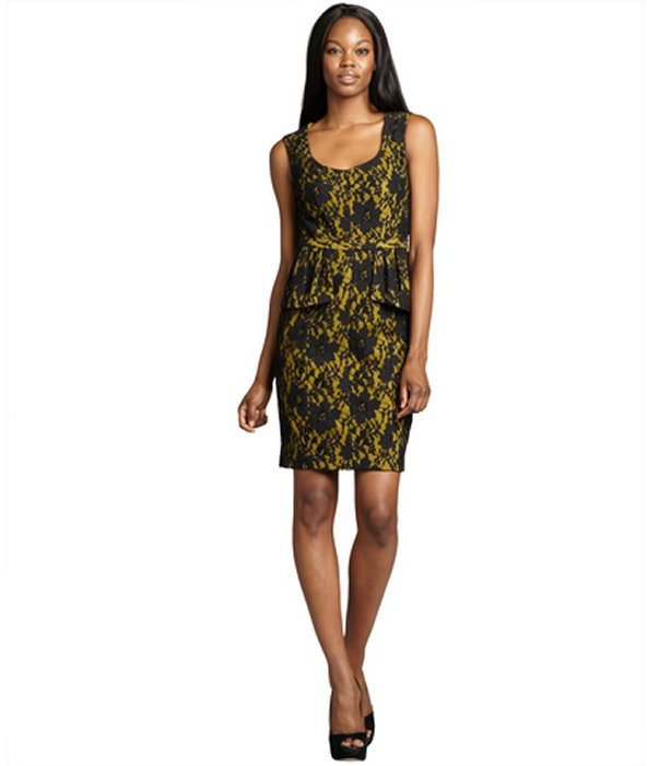 BCBGMAXAZRIA peridot and black cotton blend lace 'Etna' peplum sleeveless dress