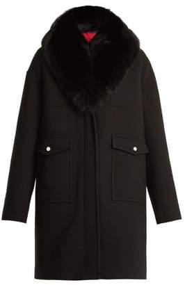 Moncler - Melville Fur Trimmed Wool Blend Crepe Coat - Womens - Black