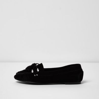 River Island River Island Womens Black suede tassel mocassin loafers