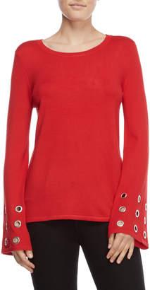 Carmen Marc Valvo Carmen Grommet Bell Sleeve Sweater