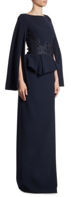 Theia Lace Cape Sleeve Peplum Gown $995 thestylecure.com