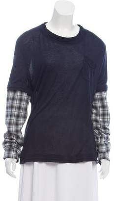 Frankie Morello Plaid-Trimmed Long Sleeve Shirt