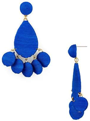 Aqua Fabric Wrapped Drop Earrings - 100% Exclusive