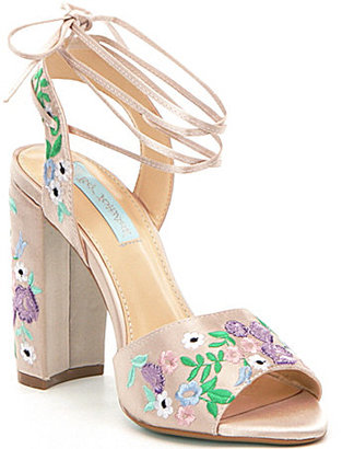 Betsey Johnson Raine Satin Floral Embroidered Ankle Tie Dress Sandals $109 thestylecure.com