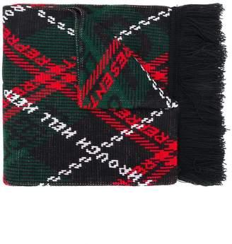 Represent Hell tartan scarf