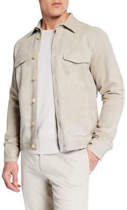 Ajmone Men's Cash Suede Button-Front Shirt Jacket