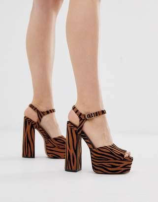 Barely There Asos Design ASOS DESIGN Nacho platform heeled sandals in tiger